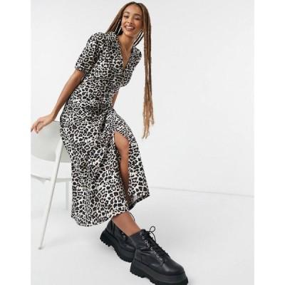 エイソス ASOS DESIGN レディース ワンピース ミドル丈 ワンピース・ドレス ultimate midi tea dress in leopard print レオパードプリント