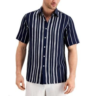 タッソ エルバ Tasso Elba メンズ シャツ トップス textured engineered stripe shirt Navy Combo