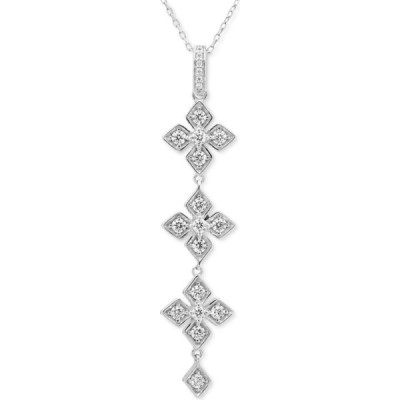 "メイシーズ Macy's ユニセックス ネックレス Diamond Triple Drop Flower 18"" Pendant Necklace (3/8 ct. t.w.) in 14k White Gold White Gold"