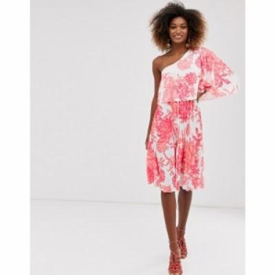 エイソス ASOS DESIGN レディース ワンピース ワンピース・ドレス ASOS One shoulder pleated crop top mini dress in floral print Mult