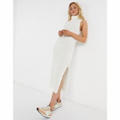 エイソス ASOS DESIGN レディース ワンピース ノースリーブ ミドル丈 ワンピース・ドレス knitted sleeveless midi dress in cream クリ