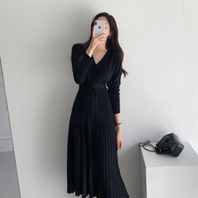Vネックベルト付きニットワンピース(ブラック)ひざ下丈 ミモレ丈 カワイイ 韓国ファッション