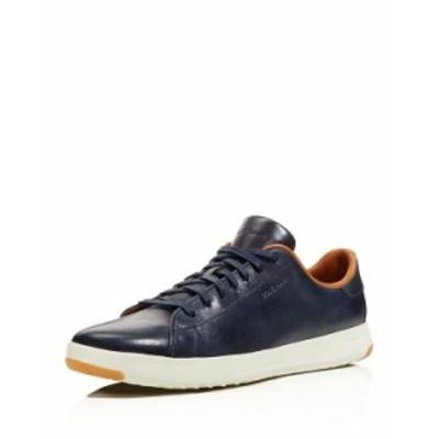 コールハーン メンズ スニーカー シューズ Men's GrandPro Leather Low-Top Sneakers Navy