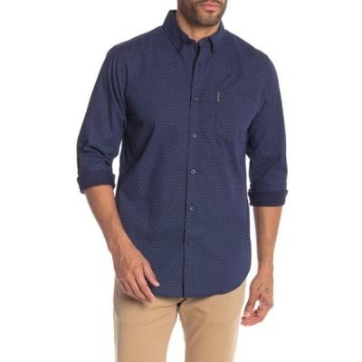 ベンシャーマン メンズ シャツ トップス Checker Dots Print Classic Fit Shirt NAVY BLAZE