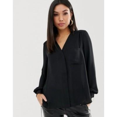 エイソス レディース シャツ トップス ASOS DESIGN long sleeve blouse with pocket detail Black