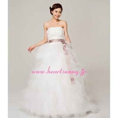 ウェディングドレス スパンコール付きビスチェ リボン&花付きパープルベルト 編み上げ E029