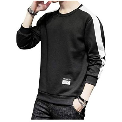 Ayistelu トレーナー メンズ プルオーバー 長袖 Tシャツ 丸襟 スウェット トップス 暖かい 秋 冬 春 (ブラックB XL)
