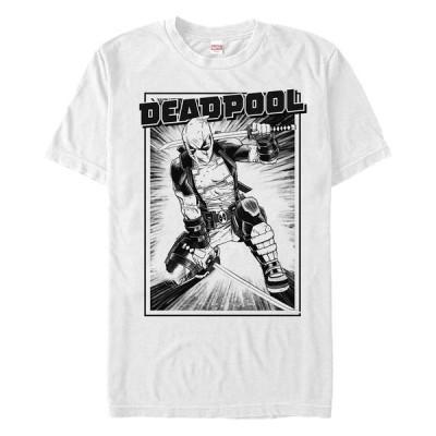 マーベル Tシャツ トップス メンズ Men's Deadpool Samurai Stance Short Sleeve T-Shirt White