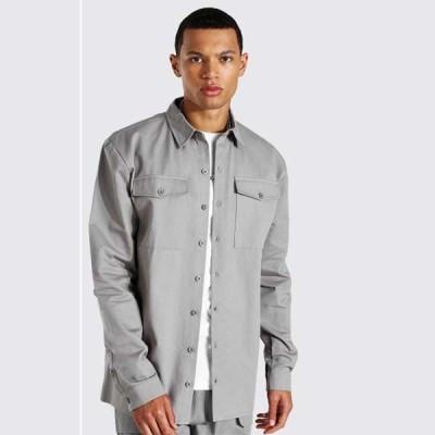 boohoo(ブーフー) メンズ  ポケット オーバーサイズ シャツ 大きいサイズあり 流行 最新 メンズカジュアル ファッション