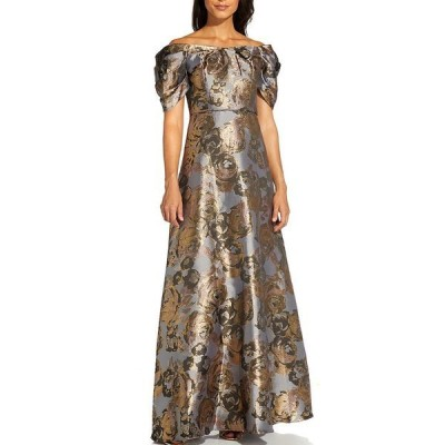 アドリアナ パペル レディース ワンピース トップス Off-The-Shoulder Metallic Jacquard Ball Gown Moonlight Blue