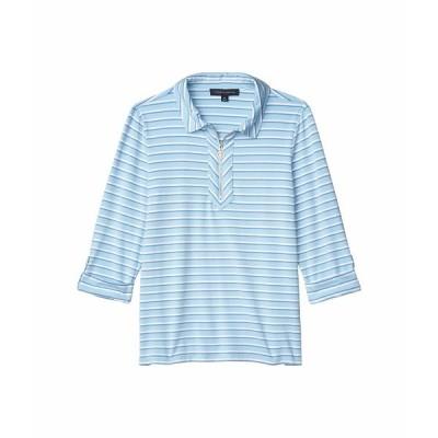 トミー ヒルフィガー シャツ トップス レディース 1/2 Zip Stripe Shirt French Blue Multi