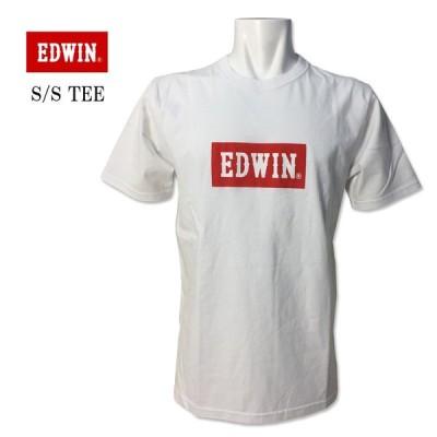 エドウィン EDWIN(エドウィン) クルーネック ロゴ プリント Tシャツ シンプル ホワイト 白 ET5680