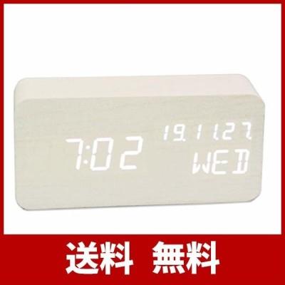 SEKATYOIデジタル時計 置き時計目覚まし時計 温度湿度計 時間 /時刻 /日付/アラーム 大きなLED数字表示 木目調 木製 アラームクロック