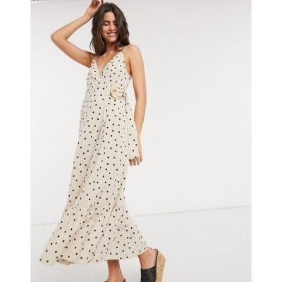 エイソス レディース ワンピース トップス ASOS DESIGN cami wrap maxi dress in linen with wicker belt in spot Black / cream spot