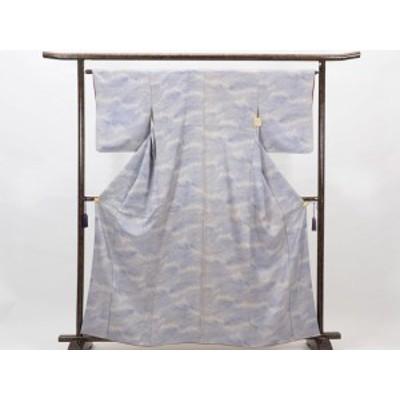 【中古】リサイクル小紋 / 正絹薄ブルー袷小紋着物(古着 中古 小紋 リサイクル品)