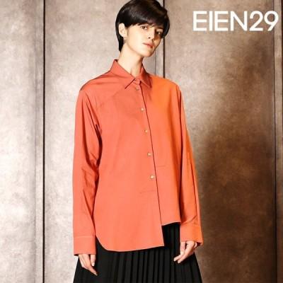 日本未発売 EIEN29 ブラウス アシンメトリー 長袖 貝ボタン シャツ   ゆったり ロング 襟付き きれいめ オフィス 40代 個性的 母の日