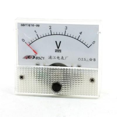 uxcell ボルトメーター アナログ電圧計 電圧計 パネルメーター ガージ 85C1 DC 0-5V クリア