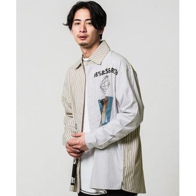 【シルバーバレット】 CavariAストライプ柄切り替えデザインプリント長袖ビッグシャツ メンズ ベージュ 46(L) SILVER BULLET