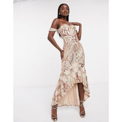 バリアーノ Bariano レディース ワンピース マキシ丈 ワンピース・ドレス Bardot High Low Patterned Sequin Maxi Dress In Rose Gold ローズゴールド