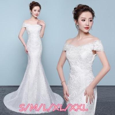 マキシドレス ウェディングドレス 結婚式ワンピース 花嫁ドレス Vネック エレガントなワンピース 透け感レース タイトスカート