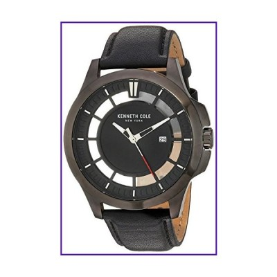 Kenneth Cole New York Men's Transparency Stainless Steel Japanese-Quartz Watch with Leather Calfskin Strap, Black, 22 (Model: 10029297) 並行輸入