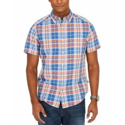 nautica ノーティカ ファッション アウター Nautica Mens Blue Red XS Plaid Print Short Sleeve Button Down Shirt