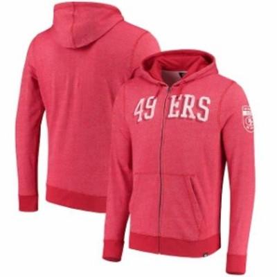 47 フォーティーセブン スポーツ用品  47 San Francisco 49ers Scarlet Top Grain Full-Zip Hoodie
