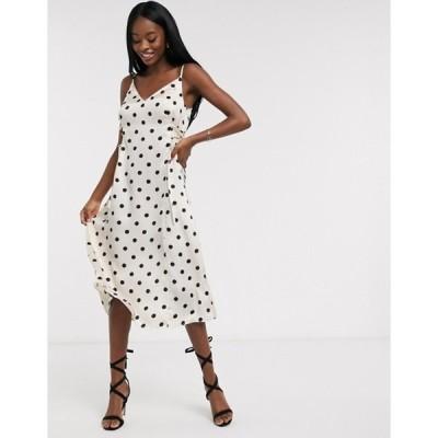 アウトレイジャスフォーチュン レディース ワンピース トップス Outrageous Fortune midi slip dress with lace up side detail in cream polka