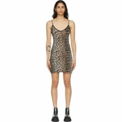 ガニー GANNI レディース ワンピース スリップドレス ワンピース・ドレス Black and Brown Leopard Slip Dress Leopard