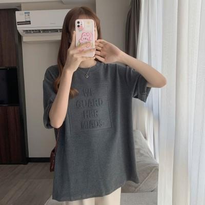 ゾエ ジェンコ Zoe Jenko フロントロゴ エンボス加工 半袖Tシャツ 8071 (GRY)