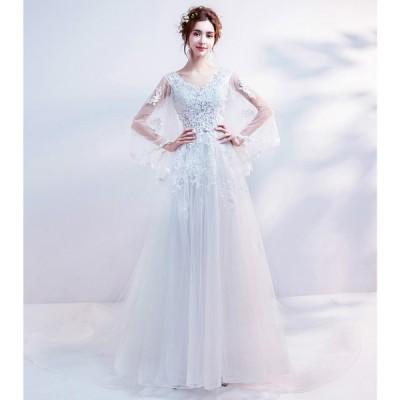 ウェティグドレス Aラインドレス 結婚式 安い 大きいサイズ  ロングドレス  二次会 海外挙式 花嫁 ドレス 花嫁 袖あり 長袖 カジュアル トレーン 送料無料