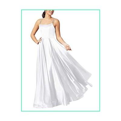 XSWPL Satin Long Spaghetti Straps Prom Dresses Beach Wedding Bridesmaid Dress with Pockets White並行輸入品