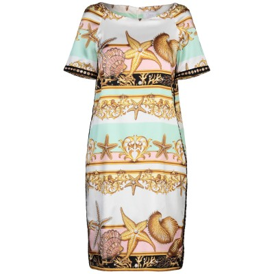 CLIPS MORE ミニワンピース&ドレス ホワイト 42 ナイロン 55% / シルク 35% / ポリウレタン 10% ミニワンピース&ドレス