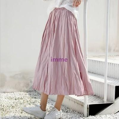 ワッシャープリーツスカート スカート 無地 マイクロプリーツ プリーツスカート ボトムス しわ加工 レディースファッション かわいい カジュアル 大人女子 マ…