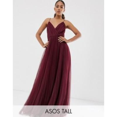 エイソス レディース ワンピース トップス ASOS DESIGN Tall cami pleated tulle maxi dress Oxblood