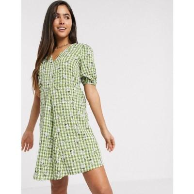 ヴィラ Vila レディース ワンピース Vネック ワンピース・ドレス smock dress with v neck in green check and floral マルチカラー