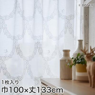 カーテン ディズニーファン必見 スミノエ Disney レースカーテン MICKEY/ flower wreath(フラワーリース) 巾100×丈133cm*M-1190