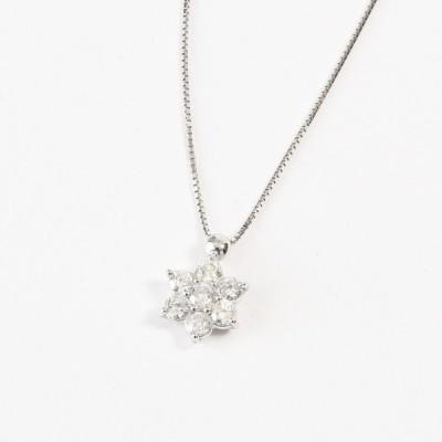 K18WG ダイヤモンドネックレス フラワー ダイヤ0.7ct(無段階の長さ調整 スライド式アジャスター)(ジュエリーケース付き)