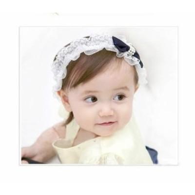 ヘアバンド リボン 連玉 ベビーバンド 女の子 アクセサリー ベビー カチューシャ 髪飾り b14-1