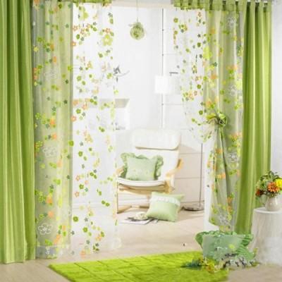 おしゃれ チュール 花柄 プリントカーテン カーテン ウィンドウカーテン ドレープ  2枚入