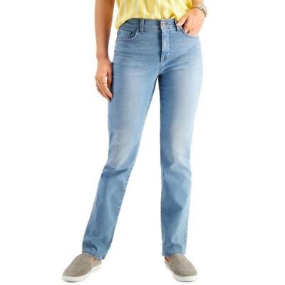 スタイルアンドコー レディース デニムパンツ ボトムス Petite Tummy-Control Straight-Leg Jeans