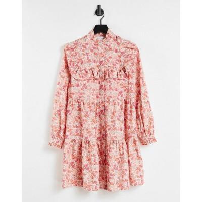 アライン ミディドレス レディース Aligne organic cotton mini shirt dress with frill detail in vintage floral print エイソス ASOS