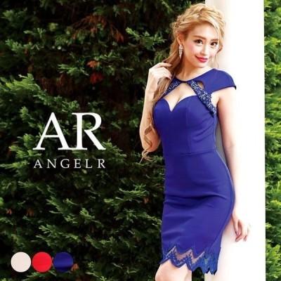 ドレス キャバ キャバドレス ワンピース AngelR カットアウト 異素材 タイト ミニドレス S M ベージュ