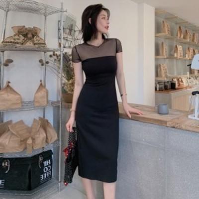 パーティードレス 大きいサイズ 結婚式 二次会 ワンピース お呼ばれドレス 袖あり ミディアム丈 タイトスカート シースルー シンプル