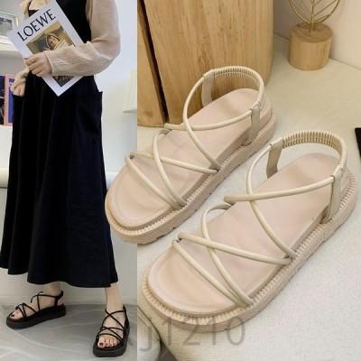 ソリッドカラー夏スポンジケーキ厚底サンダル女性韓版クロスストラップサンダルミッドヒール丸頭サンダル通気性増加する