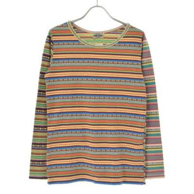 CUBE SUGAR / キューブ シュガー ジャガードボーダー柄切替クレイジーパターン 長袖Tシャツ