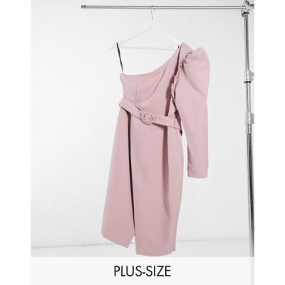 ラヴィッシュアリス Lavish Alice Plus レディース ワンピース ワンピース・ドレス One Shoulder Belted Midi Dress In Pink