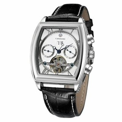 FORSINING自動Branded Mens Watch with Complete Calendar Tonneau形状レザーバンド腕時計
