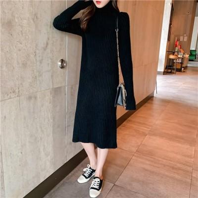 [55555SHOP]上品&気質 タートルネック 長い ニット ワンピース 長袖のワンピース 秋と冬のドレス 快適で暖かい ロング 編み物 ワンピース