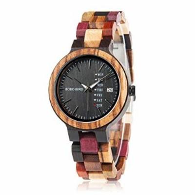 『全国送料無料』BOBO BIRD レディース 木製腕時計 カラフル 木材 腕時計 デイデイト表示 多機能 手作り クォーツ時計 スポーツ クロノグ